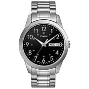 Timex Men's Black Dial Silvertone Expansion Band Watch