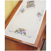 Violets Cross-Stitch Dresser Scarf Kit