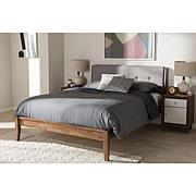 Leyton Fabric and Brown Finish Wood Platform Bed