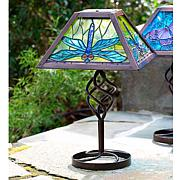 Wind and Weather Dragonfly Solar Tiffany-Style Table Lamp