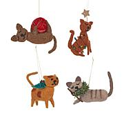 Wind and Weather Set of 4 Holiday Felt Cat Ornaments