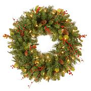 """Winter Lane 24"""" Classical Collection Wreath w/Lights"""