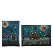 Winter Lane Set of 2 Harvest or Halloween Fiber-Optic Canvas Set