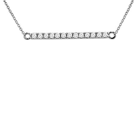 0.15ctw White Diamond Bar 14K White Gold Drop Necklace