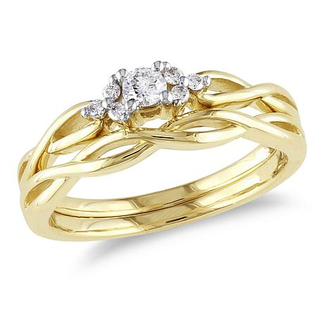 016ctw Diamond Braided Engagement Ring and Wedding Band 10K Yellow