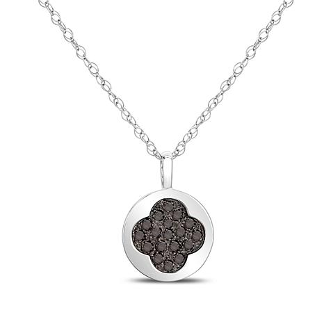 0.25ctw Colored Diamond Clover Drop Sterling Silver Pendant with Chain