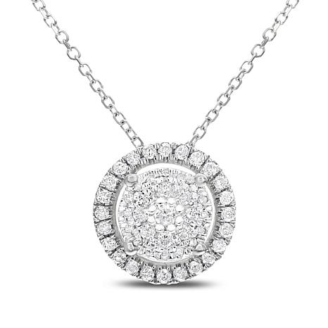 """0.25ctw Diamond 14K Gold Round Pendant with 16"""" Chain and 2"""" Extender"""