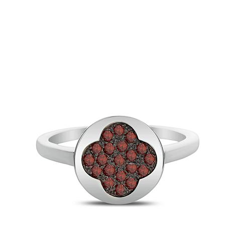0.30ctw Colored Diamond Clover Sterling Silver Ring