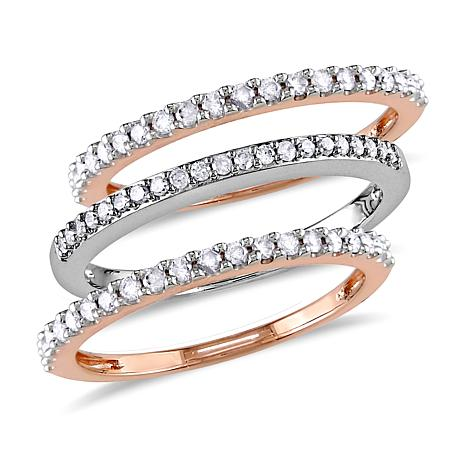 0.5ctw Diamond Set of 3 10K Gold Semi-Eternity Bands