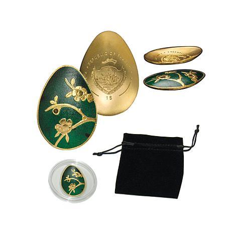 $1 Palau LE 5000 0.5g .9999 Gold and Green Enamel Egg