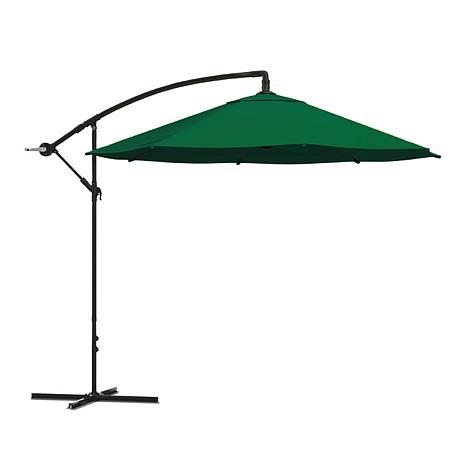 10' Hanging Cantilever Patio Umbrella with Easy Crank - Hunter Green