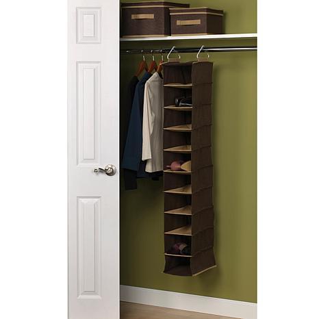 10-Pocket Wide Hanging Organizer - Coffee Linen