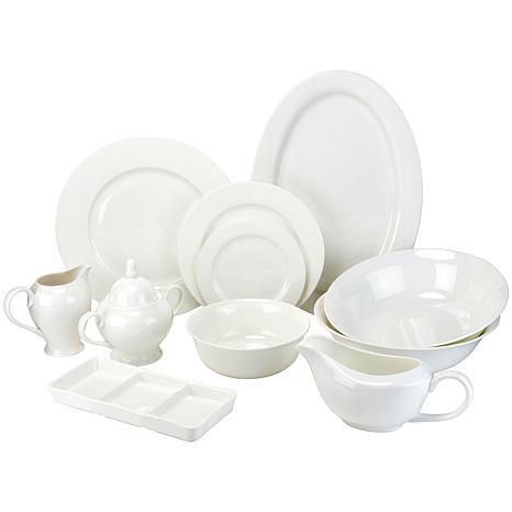 10 Strawberry Street 32 Piece Bone China Dinnerware Set White