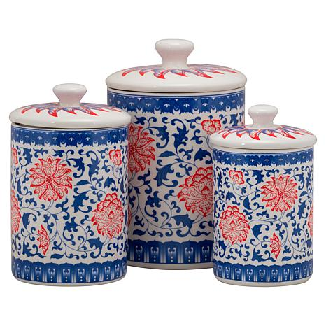 10 Strawberry Street Chinoiserie 3-piece Canister Set - Red/Blue