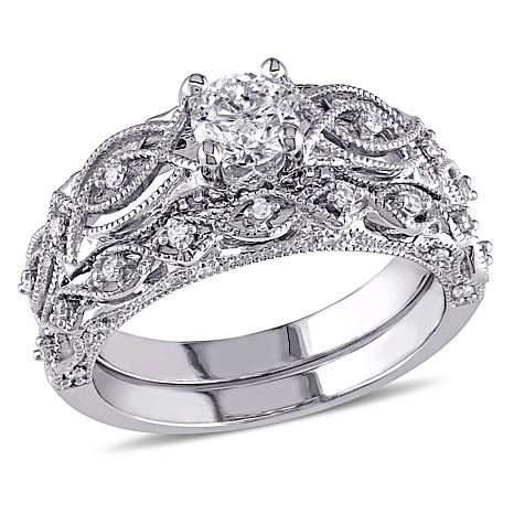 10K White Gold 074ctw Diamond VintageDesign Engagement Ring and