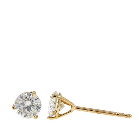 10k Gold 0 76ctw Round Moissanite Stud Earrings
