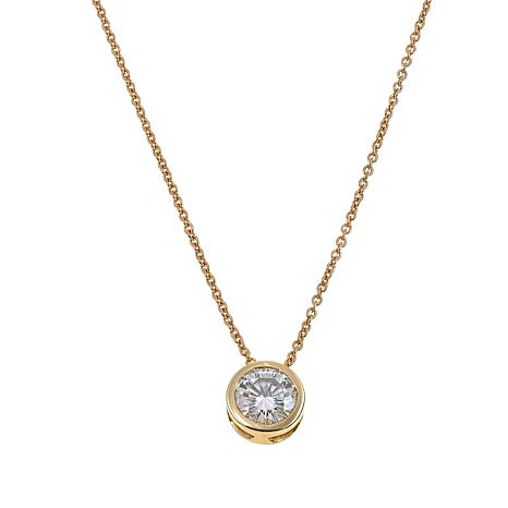 """10K Gold 0.81ct Round Moissanite Pendant with 18"""" Chain"""