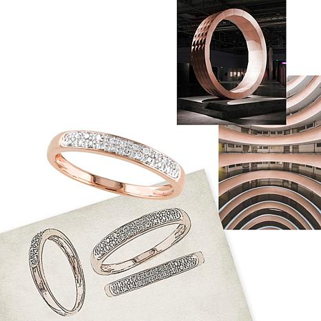 10K Rose Gold 008ctw Diamond Stackable Wedding Band Ring