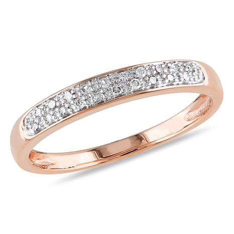 Stackable Wedding Bands.10k Rose Gold 0 08ctw Diamond Stackable Wedding Band Ring