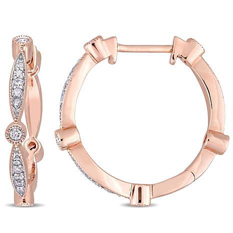 10K Rose Gold 0.30ctw Diamond-Accented Hoop Earrings