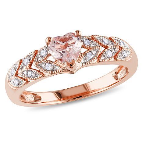 10K Rose Gold .5ctw Morganite and .06ct Diamond Ring