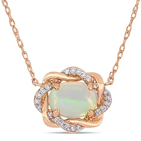 7b9bedcec7981 10K Rose Gold Diamond Accent & Ethiopian Opal Interlaced Halo Necklace