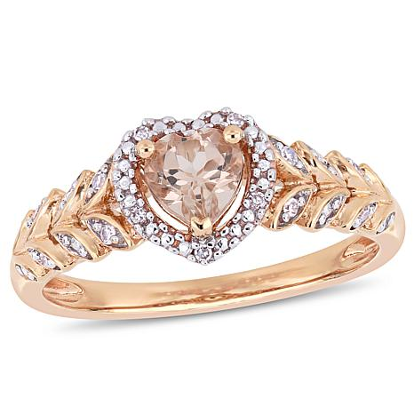 10K Rose Gold Diamond Accent and Morganite Halo Heart Engagement Ring