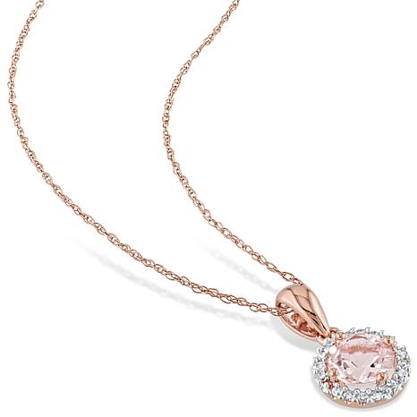 gold necklace p diamond and accent rose morganite pendant genuine oval