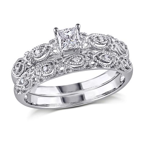 10K White 0.33ctw Princess and Round Diamond Bridal Set