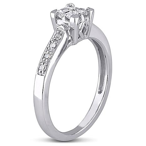 10K White Gold 0 25ctw Princess Cut and Round White Diamond
