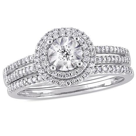 10K White Gold 0.40ctw Round Diamond Bridal Ring Set