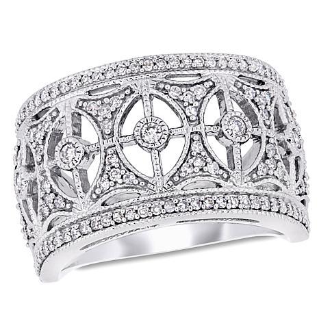10K White Gold 0.50 cttw Diamond Vintage-Style Band Ring