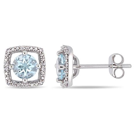 321c07e47 10K White Gold 0.87ctw Aquamarine and Diamond Halo Stud Earrings - 9150337  | HSN