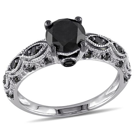 10K White Gold 1.23ctw Black Diamond Round and Pavé Ring