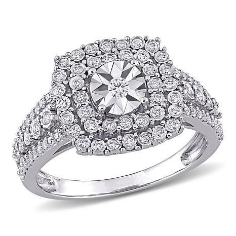 10K White Gold .50ctw Diamond Square Halo Ring