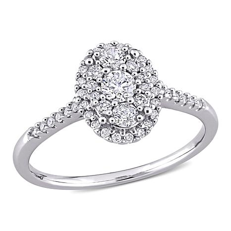 10K White Gold .5ctw Diamond Oval Cluster Halo Engagement Ring