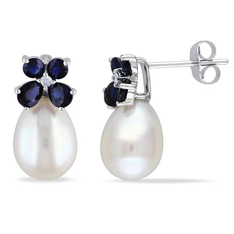 10k White Gold 8 5mm Freshwater Pearl Earrings