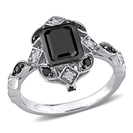 10K White Gold Black and White Diamond Vintage-Inspired Ring