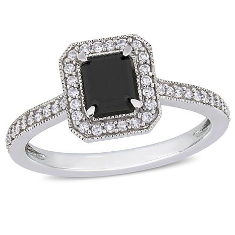 10K White Gold Emerald-Cut Black Diamond Diamond Halo Ring