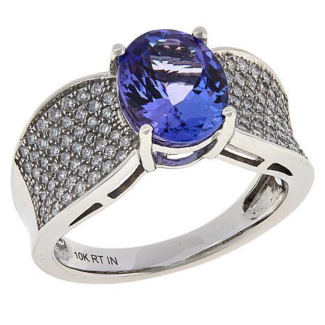 10K White Gold Oval Tanzanite and Diamond Ring