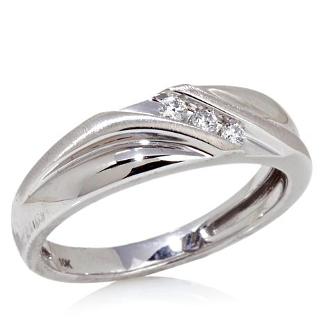 10K White Gold SlantBand Wedding Ring with 3Diamond Accent