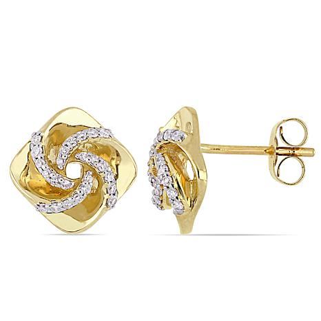 10K Yellow Gold 0.20 ctw Diamond Swirl Stud Earrings