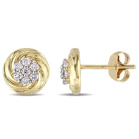 10K Yellow Gold 0.25ctw Diamond Swirl Stud Earrings