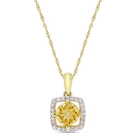 10K Yellow Gold .86ctw Citrine and Diamond Halo Pendant with Chain