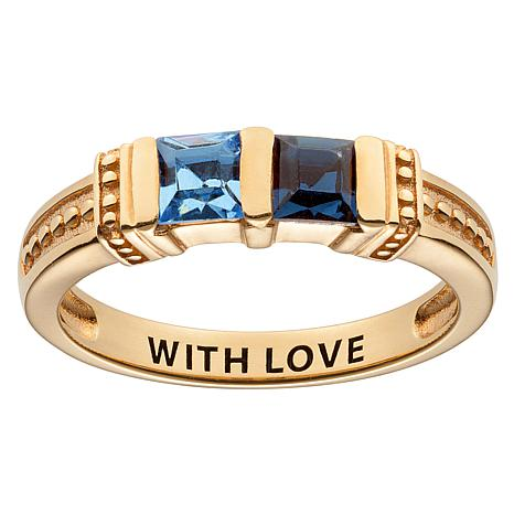 10K Yellow Gold Square Family Birthstone Ring - 2 Stones