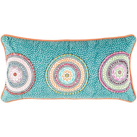 "11"" x 21"" Beaded Circles Pillow - Teal/Orange"