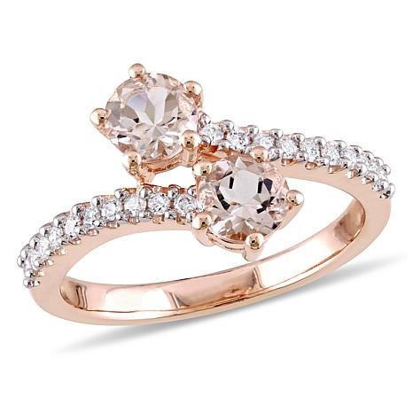 1.16ctw Morganite and Diamond 10K Rose Gold Bypass Ring