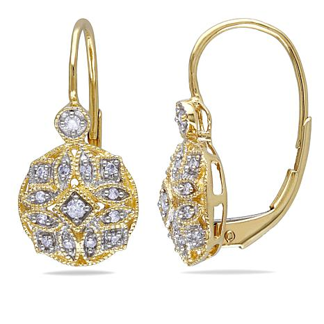 14K Gold 0.13ctw White Diamond Drop Earrings