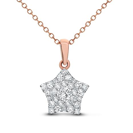 """14K Gold 0.25ctw Diamond Cluster Star Pendant with 18"""" Cable Chain"""