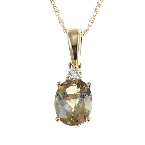 14K Gold 1.12ctw Diamond and Zoisite Pendant w/Chain